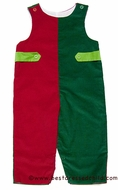 Glorimont Infant / Toddler Boys Lime / Green / Red Corduroy Color Block Longall with Tabs