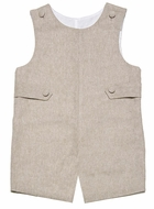 Glorimont Infant / Toddler Boys Shortall with Tabs - Flax Linen Blend
