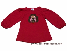 Glorimont Red Puff Sleeves Swing Top for Girls - Thanksgiving Turkey