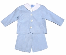 Gordon and Co. Boys LINEN Eton Suits with Shirt - Light BLUE