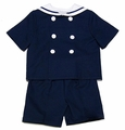 Gordon & Co. Boys Pique Sailor Suit Shorts Set - Navy Blue - Last One!