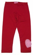 Haven Girl Capri Leggings - Red with Pink Heart