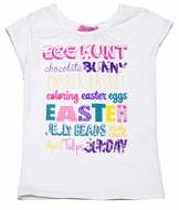 Haven Girl Egg Hunt Cap Sleeve Top - Bright Easter Colors on White