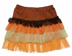 Haven Girl Fall Colors - Brown / Rust / Orange - Thanksgiving Netting Skort