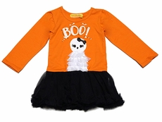Haven Girl Infant Girls Orange / Black Tulle Halloween Ghost Dress