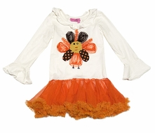 Haven Girl Ivory / Orange Chloe Tutu Dress - Thanksgiving Turkey