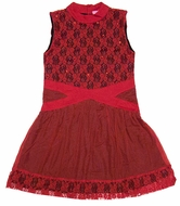 Haven Girl Lace Criss Cross Christmas Dress - Black Lining with Red Overlay