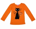 Haven Girl Orange Shirt with Black Halloween Kitty Cat
