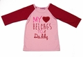 Haven Girl Pink / Red Valentine's Raglan Shirt - My Heart Belongs to Daddy