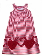 Haven Girl Red Striped Valentines Heart Morgan Dress