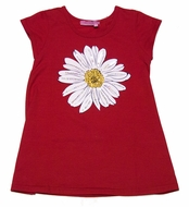 Haven Girl Red / White Daisy Flower Tunic Top