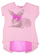 Haven Girl Rose Pink Easter Bunny Graphic Top - Flyaway Back with Bow