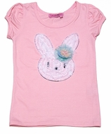 Haven Girl Rose Pink Easter Bunny Puff Tee Shirt