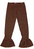 Haven Girl Ruffle Hem Leggings - Brown with Orange Dots