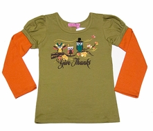 Haven Girl Sage Green / Orange Puff Sleeve Top - Thanksgiving Owls
