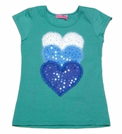 Haven Girl Teal Blue Top with Trio of White / Blue Sparkle Hearts