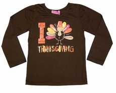 Haven Girls Brown I Love Thanksgiving Turkey Tee Shirt