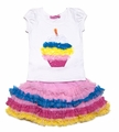 Haven Girls Multi Color Ruffle Skirt with Birthday Cupcake Top