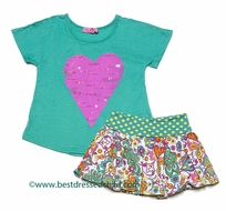 Haven Girls Paisley Chloe Skort with Top - Green with Sparkly Pink Heart