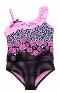 Hula Star Girls Black Leopard / Pink Roses Ruffle Shoulder Hipster Tankini Two Piece Swimsuit