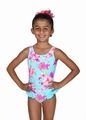Hula Star Girls Blue / Pink Floral Country Charm One Piece Swimsuit