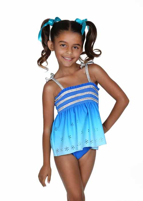 Hula Star Girls Blue Summer Breeze Silver Smocked One Piece Swimsuit