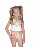 Hula Star Girls Flower Shower Pink Floral Tankini Two Piece Swimsuit