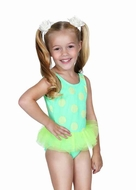 Hula Star Girls Green Dots One Piece Tulle Skirted Swimsuit