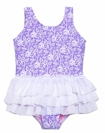 Hula Star Girls Lavender Purple / White Lace Tulle Tutu Skirted One Piece Bathing Suit