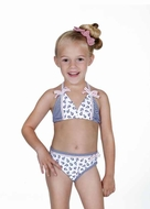 Hula Star Girls Navy Blue Nautical Anchor Halter Bathing Suit - Two Piece