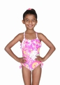 Hula Star Girls Pink Floral Fantasia One Piece Swimsuit