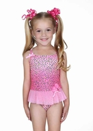 Hula Star Girls Pink Spotted Leopard One Piece Tulle Skirted Swimsuit