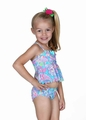 Hula Star Girls Turquoise Blue Speckled Paisley Tankini Two Piece Swimsuit