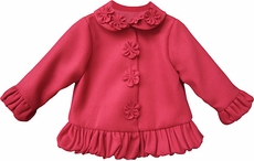 Isobella and Chloe Baby / Toddler Girls Cherry Pink Ruffled Felt Lined Jacket