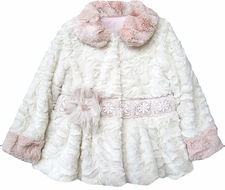 Isobella & Chloe Girls Caitlyn Winter White Plush Coat with Pink Collar