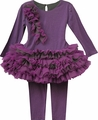 Isobella & Chloe Girls Nutcracker Ruffle Tutu Leggings Set - Grape Purple