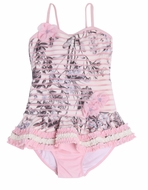 Isobella & Chloe Girls Pink / Gray Cherry Blossom One Piece Swimsuit