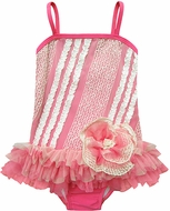 Isobella & Chloe Girls Watermelon Pink Popsicle Kisses One Piece Bathing Suit