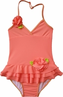 Isobella & Chole Ciao Bella Girls Coral Coraline Ruffle Halter One Piece Bathing Suits