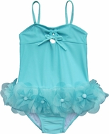 Isobella & Chole Ciao Bella Girls Turquoise Raine One Piece Swimsuit with Flower Tutu Skirt