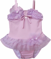 Isobella & Chole Ciao Bella Infant / Toddler Girls Desiree Lilac / Lavender Two Piece Tankini Swimsuit