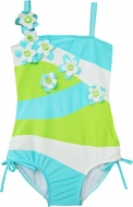 Isobella & Chole Ciao Bella Toddler Girls Turquoise / Lime Green Kailani One Piece Swimsuit