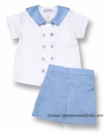 Jack and Teddy Baby / Toddler Boys Dressy Blue Pique Sailor Suit Shorts Set