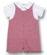 Jack and Teddy Baby / Toddler Boys Red Gingham Checks Shortall with White Seersucker Sailor Style Shirt