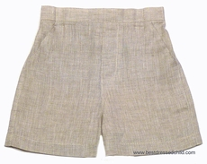 Jack and Teddy Boys Linen Dress Shorts - Flax / Khaki