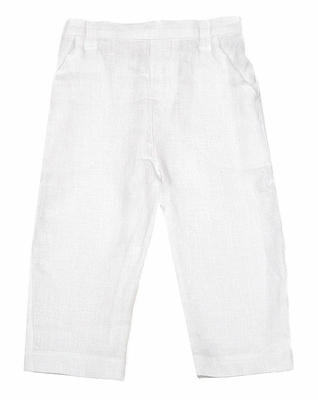 Jack and Teddy Boys Linen Dress Trouser Slacks Pants - White
