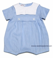 Jack and Teddy Infant Baby Boys Light Blue Linen Tab Romper with White Square Collar
