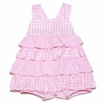 Jack and Teddy Infant Baby Girls Pink Checks Ruffled Sunsuit