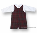 Jack & Teddy Baby / Toddler Boys Christmas Red Plaid Shortall with White Shirt