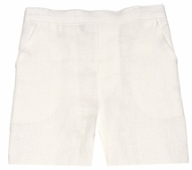 Jack & Teddy Boys Linen Dress Shorts - Ecru / Eggshell / Ivory